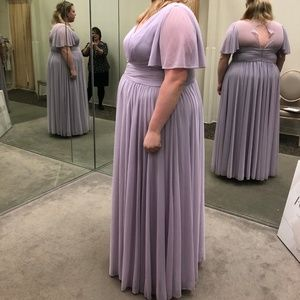 Flutter Sleeve Crisscross Bridesmaid Dress Lilac